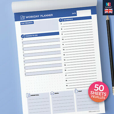 NBplanner®  A5 WORKDAY PLANNER tear-off desk notepad