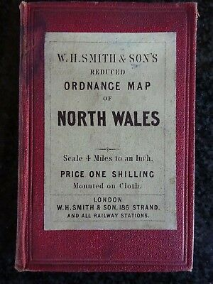 Cloth map of North Wales reduced Ordnance Survey c 1890