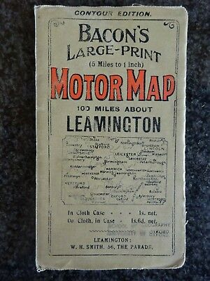 Map of Leamington area c1905? by Bacon, coloured - Contour Edition