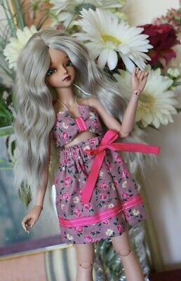Pink Floral Bjd 2-piece dress outfit -  suitable for minifee / slim minis