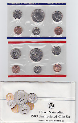 1988 US Mint Coin Set in OGP Envelope - P & D - 10 Clean Blemish-free coins