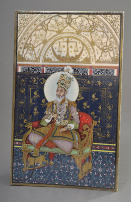very rare Indian miniature museum work portrait of a indian emperor
