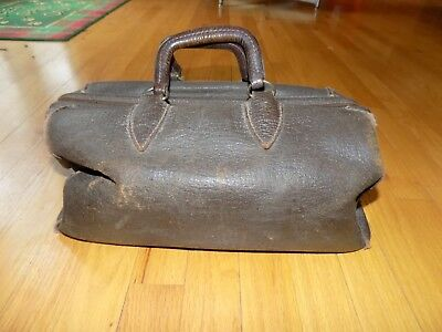 "Vtg 15"" Brown Leather Medical Physician/Doctors Bag Satchel Home/Office Decor NR"