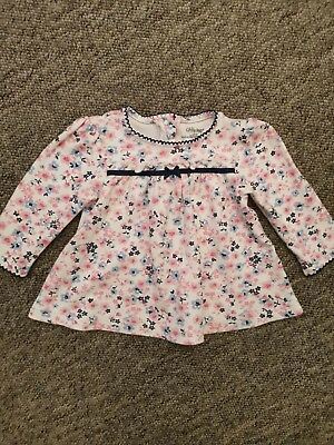 Girls Flowery Long Sleeved Top Age 12 Months