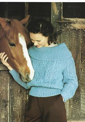 "BK331 LADIES DK CABLED DEEP COLLAR SWEATER KNITTING PATTERN 34-38""/86-97cm"