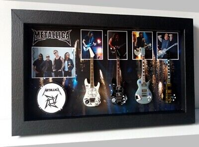 METALLICA 4 Mini Guitars and DRUM Collection in Shadow box NO SIGNED