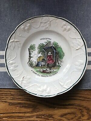 Staffordshire Child's Motto Maxim Plate ~ Honey Bees ~ Pearlware