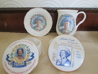 4 china items commemorating the Queen Mother 2 trinket boxes. 1 mug & 1 pin dish