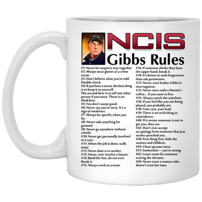 Hot NCIS Gibbs' Rules Mug White Ceramic Coffee Tea 11oz Cup Gift New;