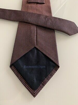 New Ermenegildo Zegna Tie, made in Italy 100 % silk Red&Blue Genuine