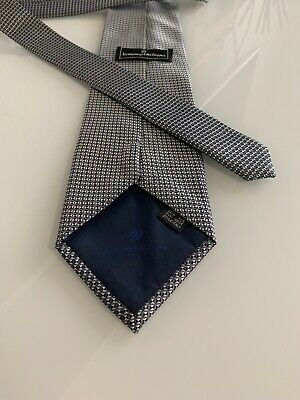New Ermenegildo Zegna Tie, made in Italy 100 % silk Metallic Silver Blue Genuine