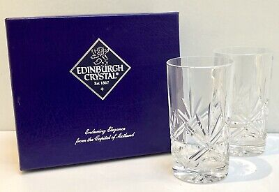 "Set Of 2 Edinburgh Crystal Ness Highball Tumbler Glasses (4.5"") & Original Box"