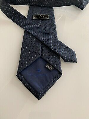 New Ermenegildo Zegna Tie, made in Italy 100 % silk Metallic Blue Genuine