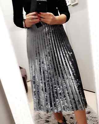 94a16ed4db0 M S Collection Silver Velvet Pleated Midi Skirt Size UK 20 EUR 48 bnwt