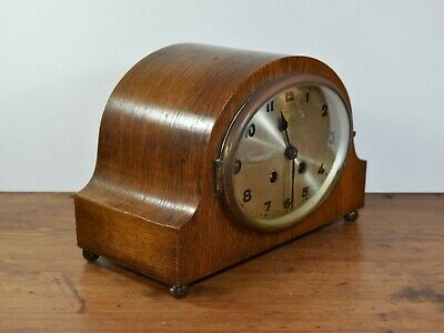 Vintage 1930's Oak Cased Mantle Clock Selling For Parts Or Restoration.