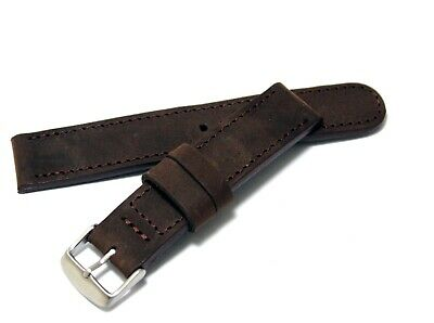 Daddy strap - thick vintage style genuine leather watchband brown color 20mm lug