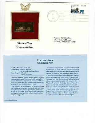 22 KT Gold Replica FDC Stamp Locomotive Gowan and Marx Train Engine