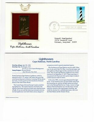 22 KT Gold Replica  FDC Stamp Lighthouses Cape Hatteras NC North Carolina