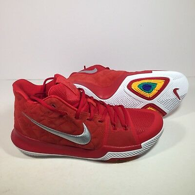 e27f644f80f248 Nike Kyrie 3 852395-601 University Red Suede White Basketball Shoes