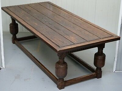 Large English Oak Jacobean Style Refectory Dining Table 45Cm X 79Cm Sets Upto 10
