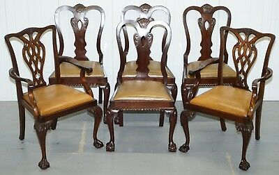 Set Of 6 Claw & Ball Mahogany Thomas Chippendale Style Antique Dining Chairs