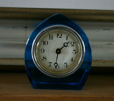 Vintage Art Deco Blue Glass Table / Mantle CLOCK Made in Japan (not working)