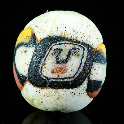 Vintage Face Bead Naive Happy White Face Islamic Mosaic Glass Bead Amulet Bead