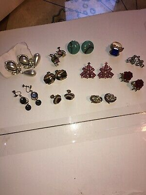 Antique Vintage Lot Of Rhinestone Clip On And Screwback Earrings Signed