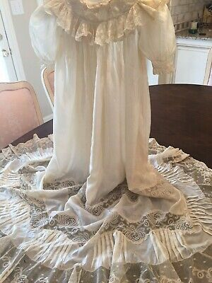 Antique Vintage Baby Christening Gown Dress EXQUISITE LACE  Hand Made Off White