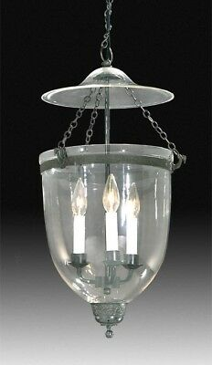 19th Century Hall Lantern Clear Antique Brass Ornate Bell Jar Ceiling Fixture SM
