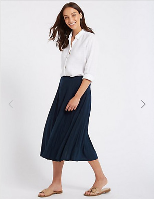 db944954bf0 M S Collection NAVY JERSEY PLEATED MIDI SKIRT SIZE UK 18 or 20 Office Work