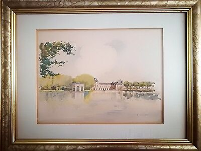 Henri Alexis Schaeffer (French Water Colour) Country House Scene