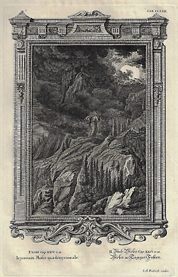 """Scheuchzer's """"Physica Sacra"""" - MOSES ENTERED THE CLOUD - Copperplate - 1731"""