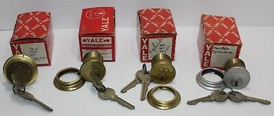 Lot of 4 Vintage Yale Brass Mortise Cylinder Door Lock NOS New with Keys