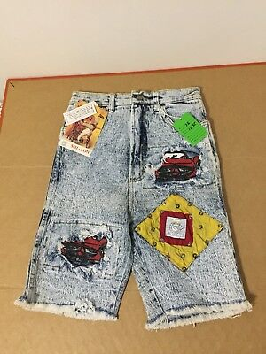 Shi-Lon Acid Wash deinim jeans shorts 80s deadtock nos patches vtg