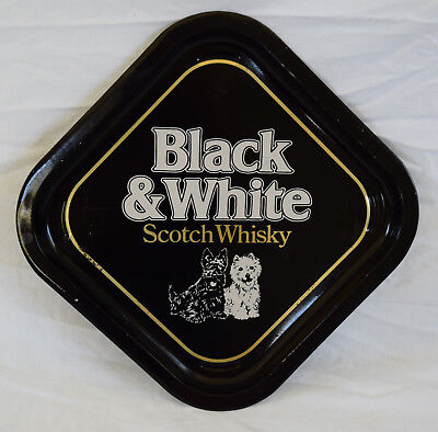 Vintage Black and White Scotch Whisky Tray Metal Advertising Scott Terriers Dogs