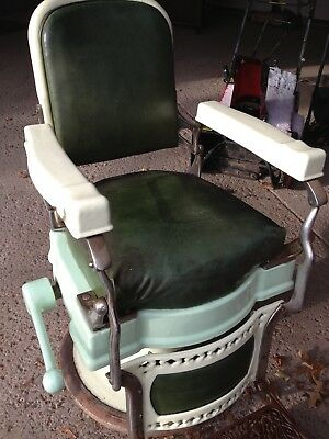 ANTIQUE BARBER CHAIR Original Leather KOKEN BARBERS SUPPLY COMPANY ST LOUIS & ANTIQUE BARBER CHAIR Original Leather KOKEN BARBERS SUPPLY COMPANY ...