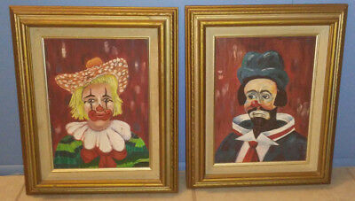 VINTAGE 70S CLOWN Oil Painting Retro Art Wall Hanging Mid Century