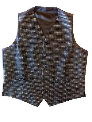 """Mens Waistcoat M&S Size M 38-40"""" Black silver dots Marks & Spencer Formal SBW"""