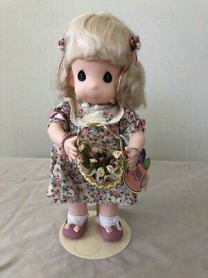 PRECIOUS MOMENTS  DOLL W/ Tag & Stand  Garden of Friends June/ Rose 1st edition
