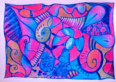 Zentangle Abstract  mixed media drawing #1 doodle
