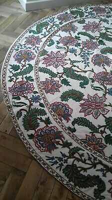 Large Round Crewel work Rug/ Table Cover/ Bedspread Embroidered