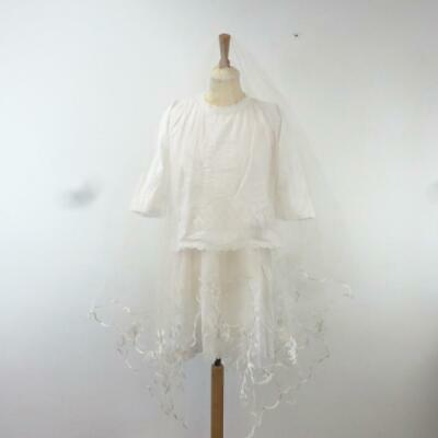 Antique 1920s Childs White Cotton Floral Lace Christening Gown Dress & Veil 38""