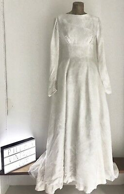 1950s  Beautiful Handmade Cream Satin  Wedding Dress with Floral Details & Train