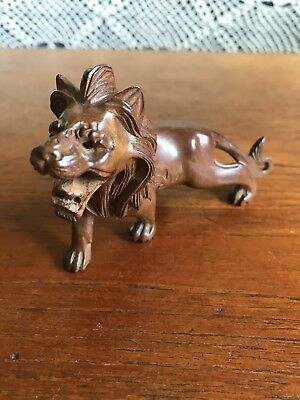 Vintage Chinese Carved Miniature Wooden Lion Figurine Statue
