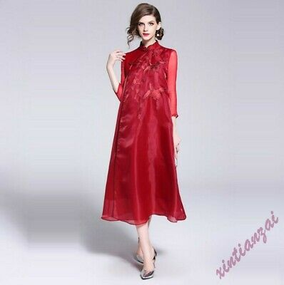 Womens Chinese Style QiPao Embroidery Retro Long Yarn Stand Collar Silk Dress