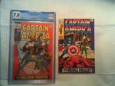 CAPTAIN AMERICA 118 CGC 7.0 & 119 (2nd and 3rd FALCON) MARVEL COMICS 1969