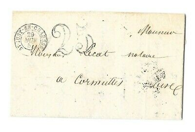 :LAC de 1853 - CAD Type 15  - St JUST EN CHAUSSEE + Taxe double traits 25