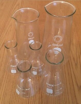 Vintage Pyrex Science Laboratory Glass Flasks Beakers x6 50ml 100ml 250ml 400ml