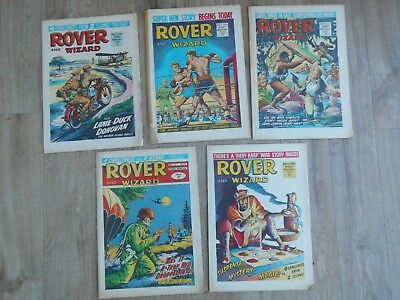 Bundle 5 Vintage Rover and Wizard Comics Apr 24th - May 22nd 1965 VGC